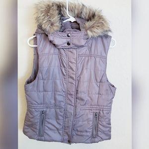 American Rag Vest With Faux Fur Hood
